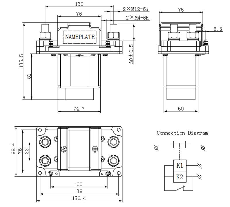 dc contactor zljm-1000d 1d
