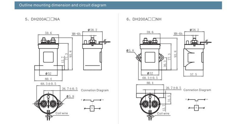 high voltage dc contactor dh200  outline mounting dimension and circuit diagram