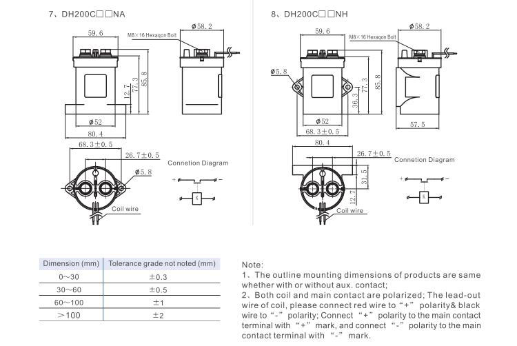 high voltage dc contactor dh200  outline mounting dimension and circuit diagram china